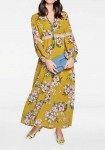 Ilga garstyčių spalvos gėlėta suknelė