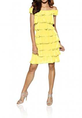 Geltona sluoksniuota suknelė