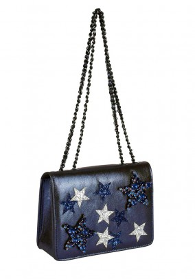 Brand bag with strass stones, midnight blue