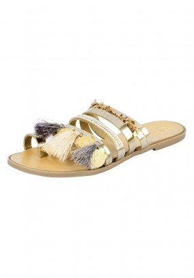 Leather mule, gold coloured