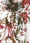 Balta suknelė su augalų motyvais