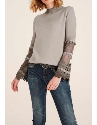 Fine knit sweater m. Top, taupe