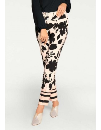 Optimizing print trousers, black-offwhite