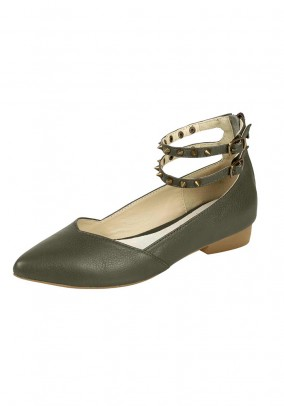 Leather ballerina shoe with rivets, olive