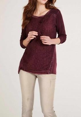 Shirt with lace, bordeaux