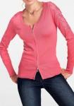 Rožinis megztinis su užtrauktuku