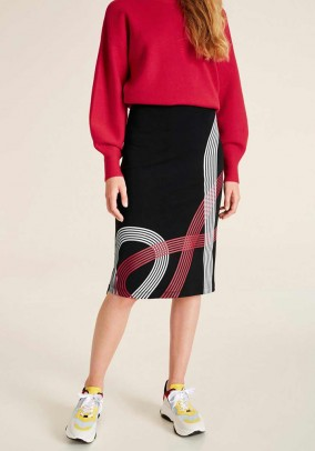 Jersey skirt with zipper, black