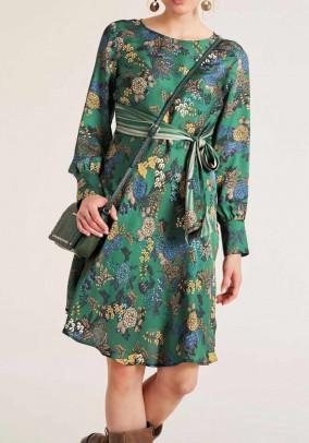 Satin dress, green-multicolour