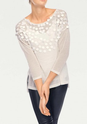 Fine knit sweater and top, ecru