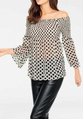 Carmen blouse, ecru-black