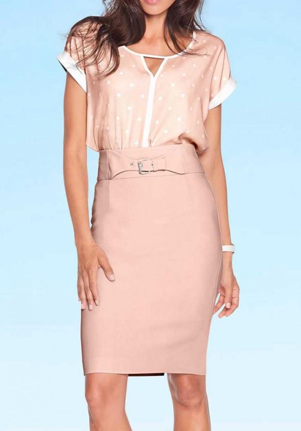 Pudros spalvos klasikinis sijonas