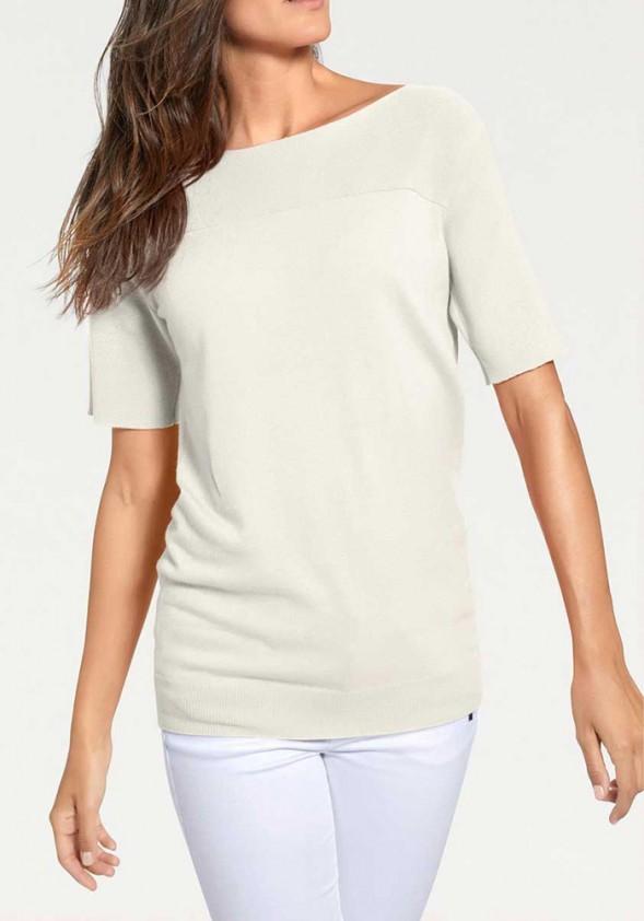 Sweater with cashmere, ecru