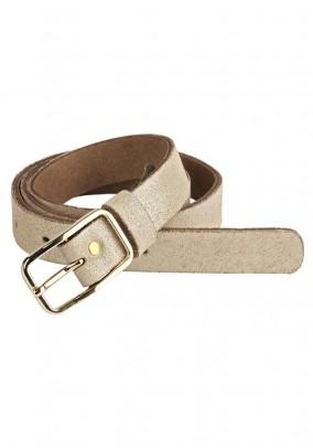 Leather belt, sand-gold-metalic