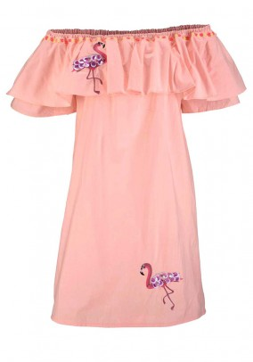 Carmen dress with embroidery