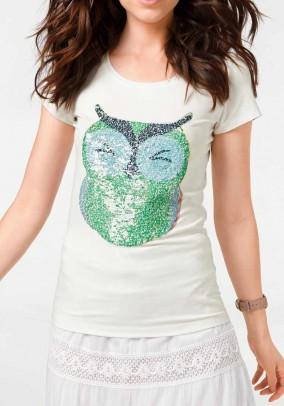 Marškinėliai su pelėdos dekoracija