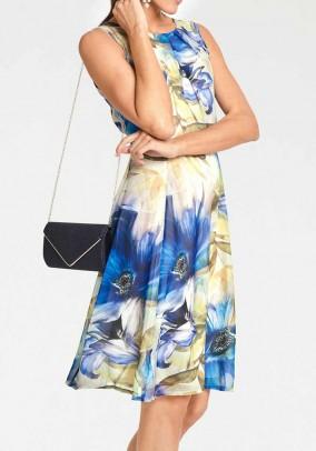 Chiffon dress, blue-yellow