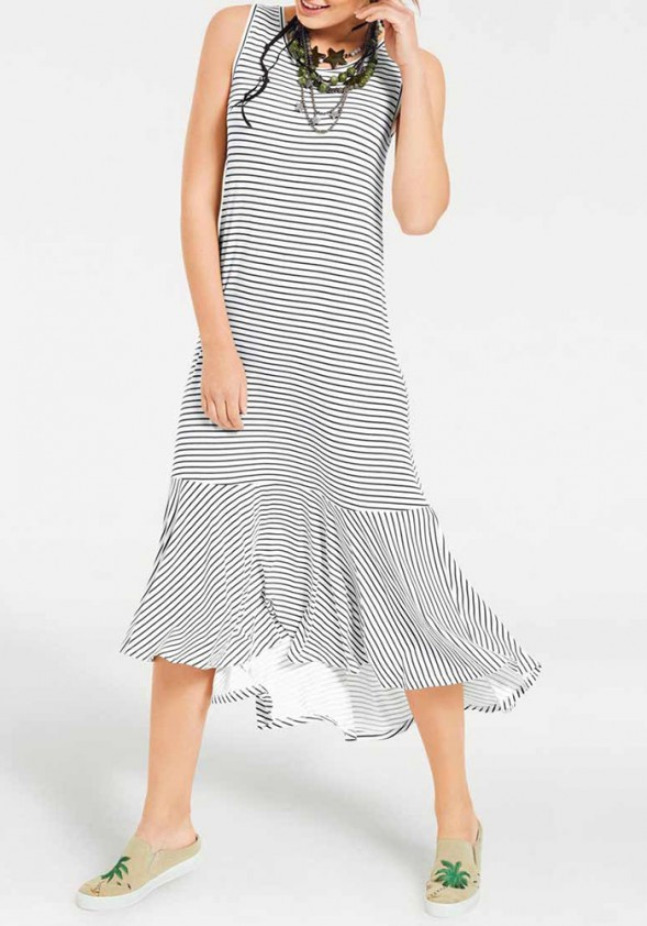 Jersey dress, navy-white