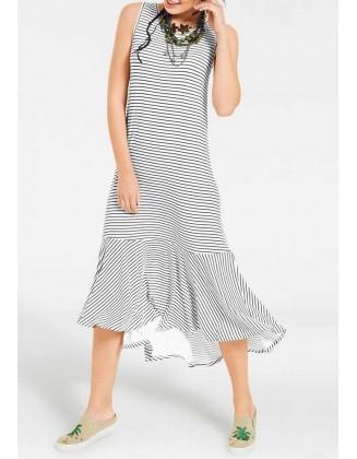 Dryžuota midi suknelė