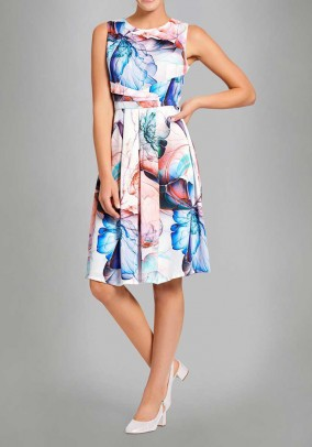 Print dress, ecru-multicolour