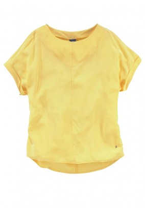 Silk blouse top, yellow