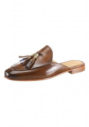 Leather sabot, brown