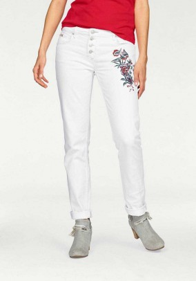 Jeans with embroidery, white, 31inch