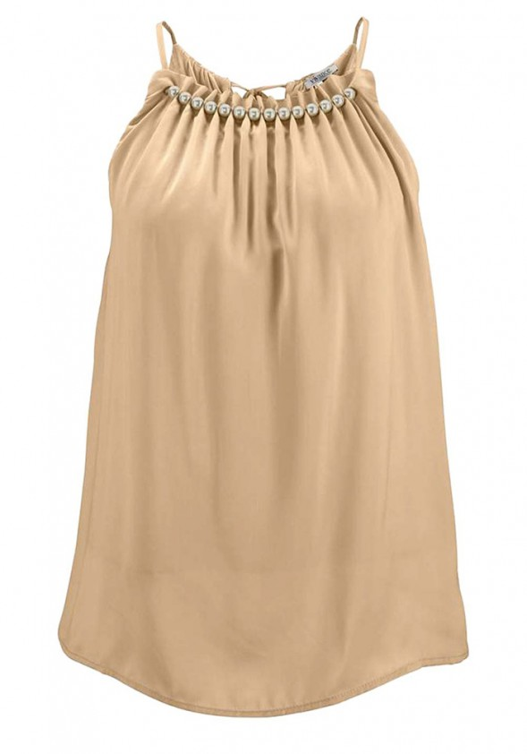 Satin blouse top, beige