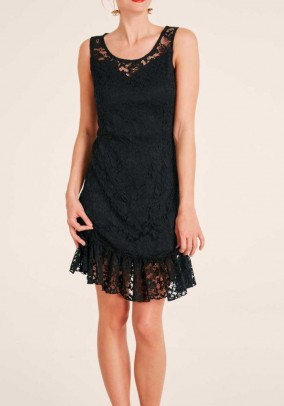 Lace dress with flounce, black