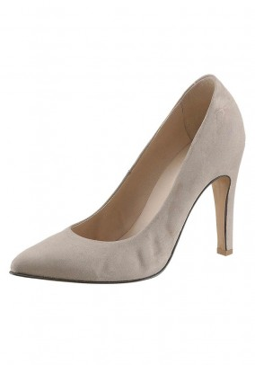 Velours leather pumps, light beige
