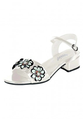 Sandal with flowers, white
