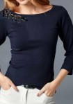 Mėlynas dekoruotas megztinis