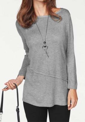Fine knit sweater, light grey
