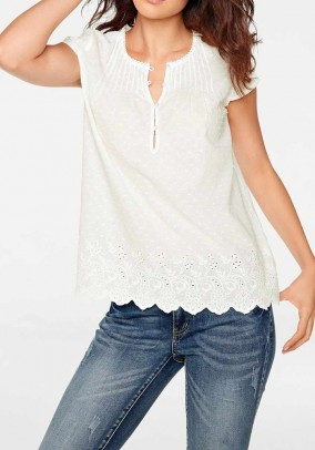 Blouse top, ecru