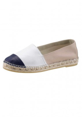 Leather espadrilles, taupe-white