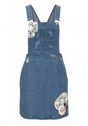 Denim overall dress with lace, blue