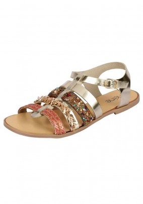 Leather sandal, gold coloured