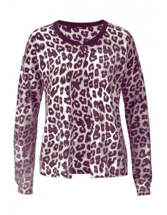 Gyvūnų rašto megztinis su vilna ir kašmyru