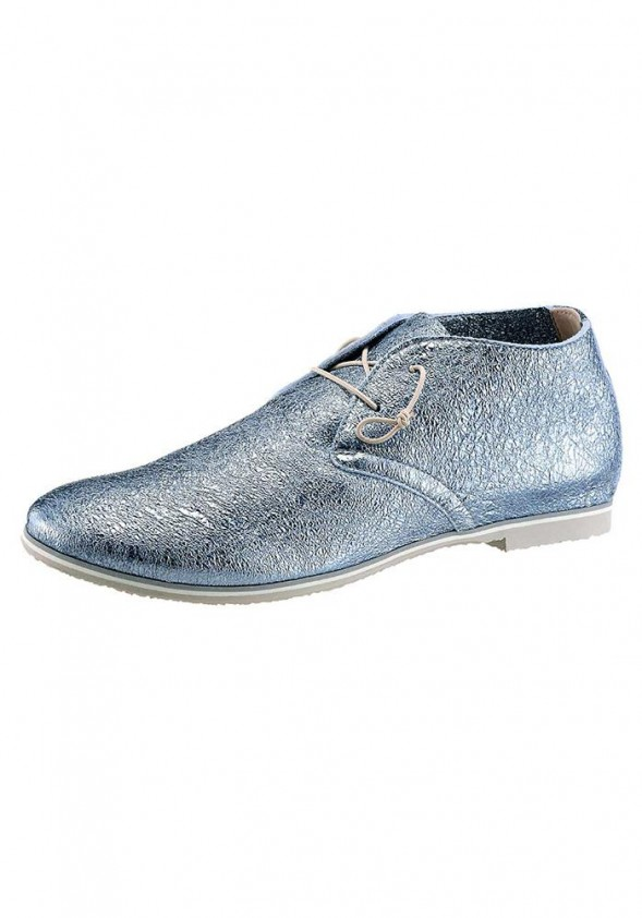 Leather slipper, light blue metalic