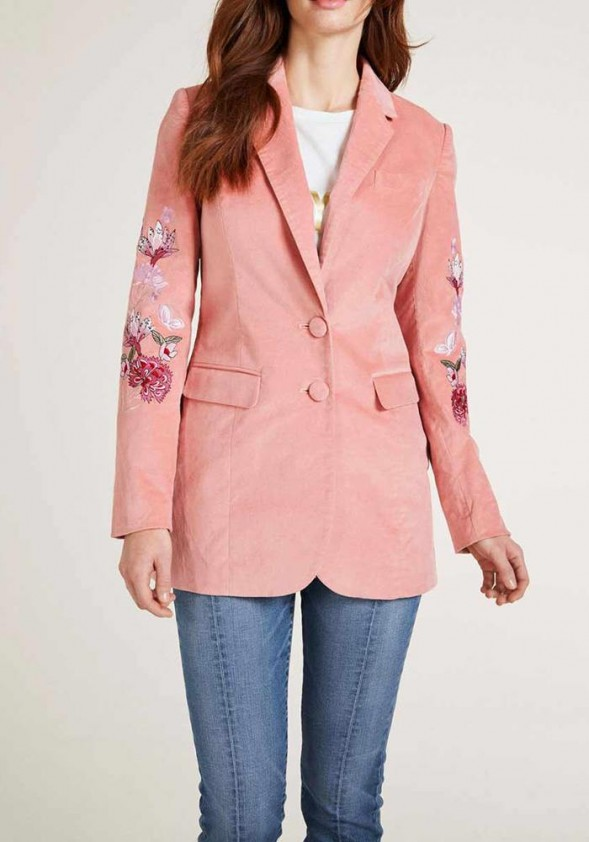 Velvet blazer with embroidery