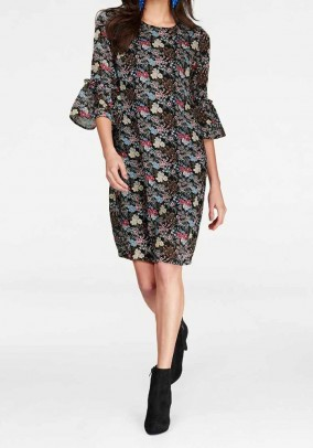 Print dress with laces, black-multicolour