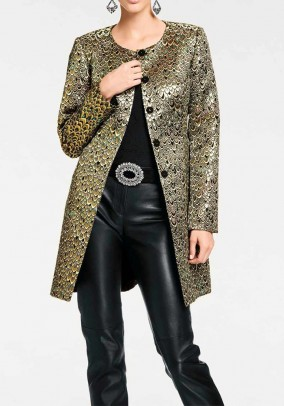 Designer frock coat, black and gold