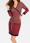 Susiaučiama raudona marga suknelė