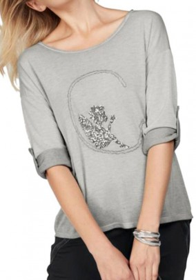 Fine knit sweater with sequins, grey