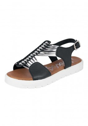 Leather sandal, black-silver