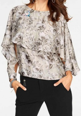 Brand silk blouse, taupe