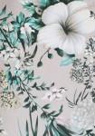 Pilka palaidinė su gėlių motyvais