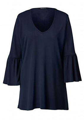 Sweater with flounces, navy