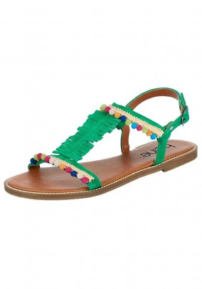 Leather sandal, green