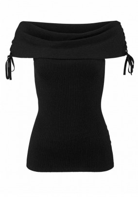 Carmen neckline top, black