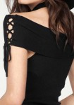 Carmen neckline top, black